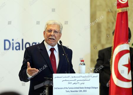 Tunisia Foreign Minister Taieb Baccouche Speaks During a Joint Press Conference with Us Secretary of State John Kerry (not Pictured) in Tunis Tunisia 13 November 2015 Kerry is in Tunisia to Take Part in Talks with the Wide Raging Tunisian National Dialogue Quartet to Look at Ways of Improving Political and Economic Ties with the Small North African Nation Tunisia Tunis