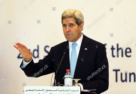 Us Secretary of State John Kerry During a Joint Press Conference with His Tunisia Counterpart Taieb Baccouche (not in Pictured) in Tunis Tunisia 13 November 2015 Kerry is in Tunisia to Take Part in Talks with the Wide Raging Tunisian National Dialogue Quartet to Look at Ways of Improving Political and Economic Ties with the Small North African Nation Tunisia Tunis