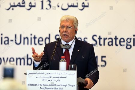 Tunisia Foreign Minister Taieb Baccouche Speaks During a Joint Press Conference with the Us Secretary of State John Kerry (not Pictured) in Tunis Tunisia 13 November 2015 Kerry is in Tunisia to Take Part in Talks with the Wide Ranging Tunisian National Dialogue Quartet to Look at Ways of Improving Political and Economic Ties with the Small North African Nation Tunisia Tunis