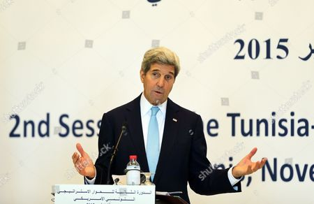 Us Secretary of State John Kerry Speaks During a Joint Press Conference with the Tunisia Foreign Minister Taieb Baccouche (not Pictured) in Tunis Tunisia 13 November 2015 Kerry is in Tunisia to Take Part in Talks with the Wide Ranging Tunisian National Dialogue Quartet to Look at Ways of Improving Political and Economic Ties with the Small North African Nation Tunisia Tunis