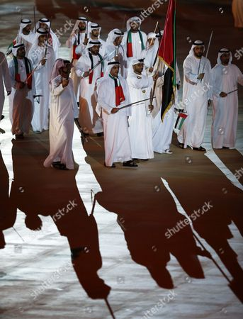 Lieutenant General Sheikh Saif Bin Zayed Al-nahyan Deputy Prime Minister and Minister of Interior and Vice Chairman of the Emirates Identity Authority (c) Dances with Other Vips During Celebrations For the Uae's 44th National Day at the Sheikh Zayed Sports City Stadium in Abu Dhabi United Arab Emirates 02 December 2015 Uae Citizens an Residents Celebrate National Day 02 December Marking the Unification of the Seven Emirates Abu Dhabi Dubai Sharjah Fujairah Ras Al-khaimah Ajman and Umm Al-quwain Into the United Arab Emirates and Freedom From the British Protectorate United Arab Emirates Abu Dhabi