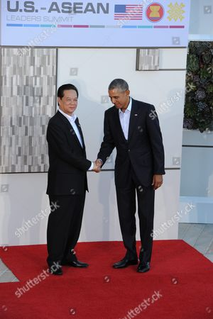 Us President Barack Obama (r) Welcomes Vietnamese Prime Minister Nguyen Tan Dung (l) at the Us-asean Summit at Sunnylands in Rancho Mirage California Usa 15 February 2016 the United States is Hosting a Meeting with Leaders From the Association of South-east Asian Nations (asean) For the First Time Amid Growing Tensions with China Over a Maritime Territorial Dispute the Territorial Dispute Over the South China Sea Which China Claims in Almost Its Entirety Against the Wishes of Other Smaller Nations in the Region Has Overshadowed Recent Asean Gatherings Epa/ned Redway United States Rancho Mirage