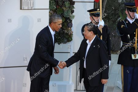 Us President Barack Obama (l) Welcomes Laos President Choummaly Sayasone (r) to the Us-asean Summit at Sunnylands in Rancho Mirage California Usa 15 February 2016 the United States is Hosting a Meeting with Leaders From the Association of South-east Asian Nations (asean) For the First Time Amid Growing Tensions with China Over a Maritime Territorial Dispute the Territorial Dispute Over the South China Sea Which China Claims in Almost Its Entirety Against the Wishes of Other Smaller Nations in the Region Has Overshadowed Recent Asean Gatherings United States Rancho Mirage