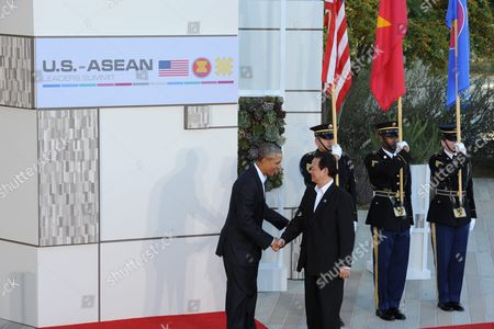 Us President Barack Obama (l) Greets Vietnamese Prime Minister Nguyen Tan Dung (r) on Arrival to the Us-asean Summit at Sunnylands in Rancho Mirage California Usa 15 February 2016 the United States is Hosting a Meeting with Leaders From the Association of South-east Asian Nations (asean) For the First Time Amid Growing Tensions with China Over a Maritime Territorial Dispute the Territorial Dispute Over the South China Sea Which China Claims in Almost Its Entirety Against the Wishes of Other Smaller Nations in the Region Has Overshadowed Recent Asean Gatherings Epa/ned Redway United States Rancho Mirage