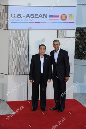 Us President Barack Obama (r) Welcomes Laos President Choummaly Sayasone (l) to the Us-asean Summit at Sunnylands in Rancho Mirage California Usa 15 February 2016 the United States is Hosting a Meeting with Leaders From the Association of South-east Asian Nations (asean) For the First Time Amid Growing Tensions with China Over a Maritime Territorial Dispute the Territorial Dispute Over the South China Sea Which China Claims in Almost Its Entirety Against the Wishes of Other Smaller Nations in the Region Has Overshadowed Recent Asean Gatherings United States Rancho Mirage