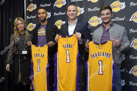 Los Angeles Lakers President Jeanie Buss (l) Poses with Americans Spencer Stone (2-r) Alek Skarlatos (r) and Anthony Sadler (2-l) As They Hold Los Angeles Lakers Shirts During a Press Conference Prior to Being Honored During the Lakers - Detroit Pistons Game at the Staples Center in Los Angeles California Usa 15 November 2015 the Three Americans Thwarted a Terrorist Attack in Belgium on a Paris Bound Train on 21 August 2015 United States Los Angeles