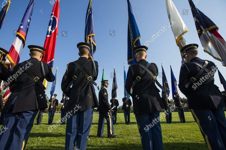 Stock Image of Members of the Third U S Infantry Regiment Old Guard Prepare to Participate in a Ceremony to Mark the Transition of Army Chief of Staff From General Raymond Odierno to General Mark Milley at Summerall Field on Joint Base Myer in Arlington Va Usa 14 August 2015 United States Arlington