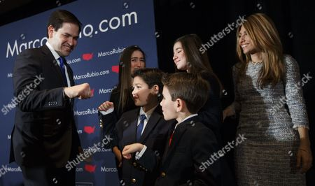 Us Republican Presidential Candidate Sen Marco Rubio (l) is Greeted by His Two Sons Dominick and Anthony His Two Daughters Daniella and Amanda and His Wife Jeanette (r) After Speaking to Supporters About Disappointing Showing in the Primary at a Primary Night Event at a Hotel in Manchester New Hampshire Usa 09 February 2016 Billionaire Businessman Donald Trump was Projected to Win on 09 February's New Hampshire Republican Primary While Senator Bernie Sanders Won the Democratic Vote in the Closely Watched First Us Presidential Primary Election Trump Led with 34 Percent of the Vote with 12 Percent of Ballots Counted But All Us Television Networks Had Declared Him the Winner While Sanders Took 57 Percent of the Vote to Hillary Rodham Clinton's 40 Percent with 15 Percent of Votes Counted United States Manchester