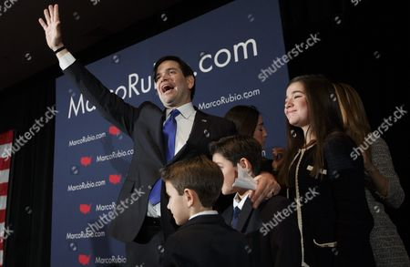 Us Republican Presidential Candidate Sen Marco Rubio (l) Waves to Supporters While Standing with His Two Sons Dominick and Anthony His Two Daniella and Amanda and His Wife Jeanette (hidden R) After Speaking to Supporters About Disappointing Showing in the Primary at a Primary Night Event at a Hotel in Manchester New Hampshire Usa 09 February 2016 Billionaire Businessman Donald Trump was Projected to Win on 09 February's New Hampshire Republican Primary While Senator Bernie Sanders Won the Democratic Vote in the Closely Watched First Us Presidential Primary Election Trump Led with 34 Percent of the Vote with 12 Percent of Ballots Counted But All Us Television Networks Had Declared Him the Winner While Sanders Took 57 Percent of the Vote to Hillary Rodham Clinton's 40 Percent with 15 Percent of Votes Counted United States Manchester