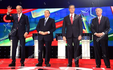 Us Republican Presidential Candidates George Pataki (l) Mike Huckabee (2l) Rick Santorum (2r) and Lindsey Graham (r) Pose For Photos Prior to Their Debate at the Venetian Las Vegas in Las Vegas Nevada Usa 15 December 2015 United States Las Vegas
