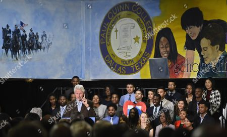 Former Us President Bill Clinton (l) Speaks As He Campaigns For His Wife Hillary Clinton (not Pictured) at Paul Quinn College in Dallas Texas Usa 22 February 2016 Bill Clinton is the First United States President to Ever Visit Paul Quinn College and Campaigns For His Wife Hillary Before the Upcoming Super Tuesday when Texas Will Vote United States Dallas