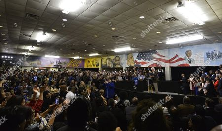 Former Us President Bill Clinton (r Back) Speaks As He Campaigns For His Wife Hillary Clinton (not Pictured) at Paul Quinn College in Dallas Texas Usa 22 February 2016 Bill Clinton is the First United States President to Ever Visit Paul Quinn College and Campaigns For His Wife Hillary Before the Upcoming Super Tuesday when Texas Will Vote United States Dallas