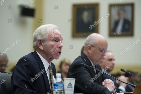 Senator Joseph Lieberman (l) with Former Director of the National Security Agency General Michael Hayden (c) with Ambassador Nicholas Burns Delivers Remarks During a House Foreign Affairs Committee Discussing the Implications of a Nuclear Agreement with Iran on Capitol Hill in Washington Dc Usa 14 July 2015 Earlier in the Day Us President Barack Obama Delivered a Televised Address to the Nation Announcing a Nuclear Agreement with Iran the Us Congress Has 60 Days to Approve Or Reject the Deal United States Washington