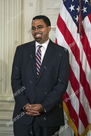 Education Department Official John King Jr Attends a Press Conference where Us President Barack Obama Announced That Arne Duncan is Stepping Down As Secretary of Education and That King Will Take Duncan's Place in the State Dining Room of the White House in Washington Dc Usa 02 October 2015 Duncan Has Served in the Post For Seven Years United States Washington