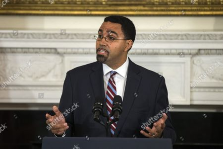 Education Department Official John King Jr Speaks at a Press Conference where U S President Barack Obama Announced That Arne Duncan is Stepping Down As Secretary of Education and That King Will Take Duncan's Place in the State Dining Room of the White House in Washington Dc Usa 02 October 2015 Duncan Has Served in the Post For Seven Years United States Washington