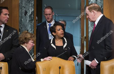 U S Attorney General Loretta Lynch (c) Chats with Democratic Senator From Maryland Barbara Mikulski (l) and Republican Senator From Alabama Richard Shelby (r) Before Testifying at a Commerce Justice Science and Related Agencies Subcommittee Hearing on the Justice Department's Role in Implementing New Executive Actions Related to Gun Control in the Dirksen Senate Office Building in Washington Dc Usa 20 January 2016 the President's Executive Action is Facing Its Legal Challenge in a Lawsuit Brought by a Conservative Advocacy Group Called Freedom Watch Epa/jim Lo Scalzo United States Washington