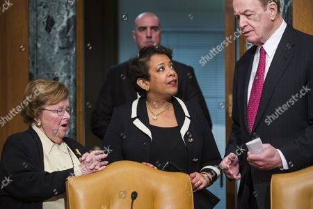 U S Attorney General Loretta Lynch (c) Chats with Democratic Senator From Maryland Barbara Mikulski (l) and Republican Senator From Alabama Richard Shelby (r) Before Testifying at a Commerce Justice Science and Related Agencies Subcommittee Hearing on the Justice Department's Role in Implementing New Executive Actions Related to Gun Control in the Dirksen Senate Office Building in Washington Dc Usa 20 January 2016 the President's Executive Action is Facing Its Legal Challenge in a Lawsuit Brought by a Conservative Advocacy Group Called Freedom Watch United States Washington