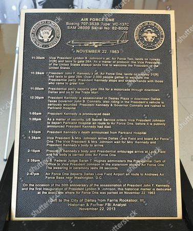 A Bronze Marker That Will Be Placed on the Tarmac Indicating the Location where Vice President Lyndon B Johnson Took the Oath of Office to Become President at Love Field Airport Will Be Installed in Dallas Texas Usa 03 September 2015 Lyndon B Johnson Became the Thirty Sixth President of the United States After John F Kennedy was Assassinated in Dallas Texas United States Dallas