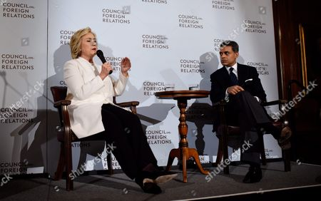 Democratic 2016 Us Presidential Candidate Hillary Clinton (l) Talks with Journalist Fareed Zakaria (r) After Speaking About National Security Issues at the Council on Foreign Relations in New York New York Usa on 19 November 2015 United States New York