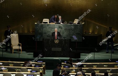 Michel Joseph Martelly President of the Republic of Haiti Delivers His Address During the 70th Session of the United Nations General Assembly at the United Nations Headquarters in New York Usa 01 October 2015 United States New York