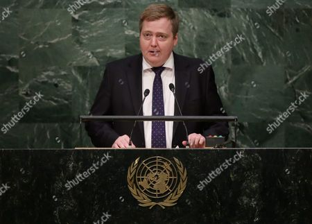 Prime Minister Sigmundur David Gunnlaugsson of Iceland Delivers His Address During the United Nations Sustainable Development Summit Which is Taking Place For Three Days Before the Start of the 70th Session General Debate of the United Nations General Assembly at United Nations Headquarters in New York New York Usa 26 September 2015 United States New York