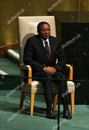 Tanzania's President Jakaya Mrisho Kikwete Sits in the Head of State Chair During the 70th Session General Debate of the United Nations General Assembly at United Nations Headquarters in New York New York Usa 29 September 2015 United States New York