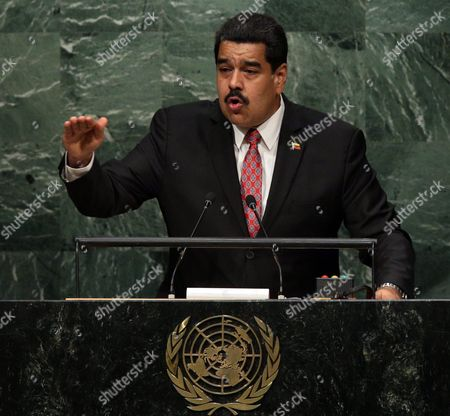 President Nicolas Maduro Moros of Venezuela Delivers His Address During the 70th Session General Debate of the United Nations General Assembly at United Nations Headquarters in New York New York Usa 29 September 2015 United States New York