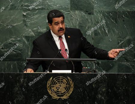 President Nicolas Maduro Moros of Venezuela Gestures While Delivering His Address During the 70th Session General Debate of the United Nations General Assembly at United Nations Headquarters in New York New York Usa 29 September 2015 United States New York