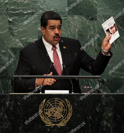 President Nicolas Maduro Moros of Venezuela Deliver His Address While Holding a Book Called 'Carta De Jamaica' During the 70th Session General Debate of the United Nations General Assembly at United Nations Headquarters in New York New York Usa 29 September 2015 United States New York