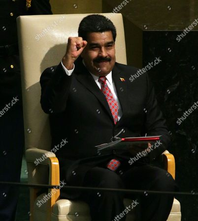 President Nicolas Maduro Moros of Venezuela Reacts at the Conclusion of His Address to the 70th Session General Debate of the United Nations General Assembly at United Nations Headquarters in New York New York Usa 29 September 2015 United States New York