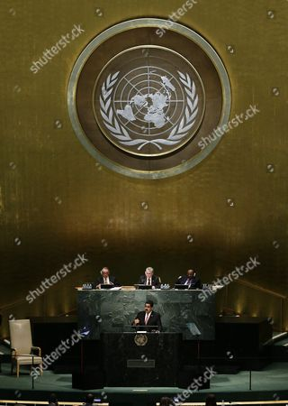 President Nicolas Maduro Moros (c Bottom at Rostrum) of Venezuela Delivers His Address During the 70th Session General Debate of the United Nations General Assembly at United Nations Headquarters in New York New York Usa 29 September 2015 United States New York