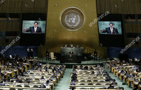 President Nicolas Maduro Moros (c at Rostrum) of Venezuela Delivers His Address During the 70th Session General Debate of the United Nations General Assembly at United Nations Headquarters in New York New York Usa 29 September 2015 United States New York