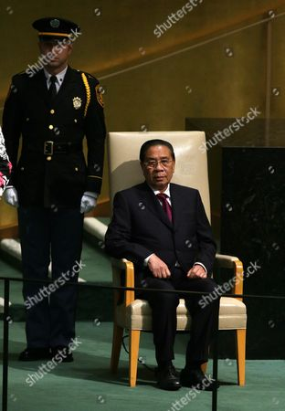 Choummaly Sayasone (r) President of the Lao People's Democratic Republic Waits to Deliver His Address During the 70th Session General Debate of the United Nations General Assembly at United Nations Headquarters in New York Usa 30 September 2015 United States New York