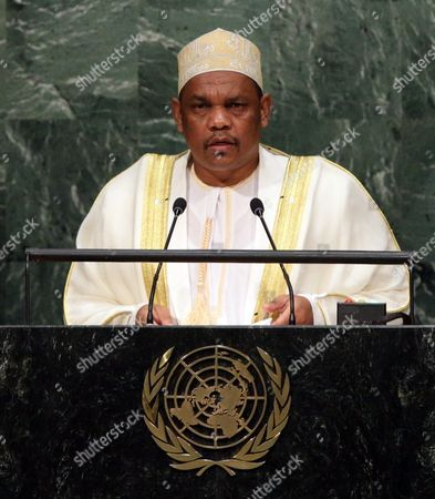 Ikililou Dhoinine President of the Union of the Comoros Delivers His Address During the 70th Session General Debate of the United Nations General Assembly at United Nations Headquarters in New York Usa 30 September 2015 United States New York