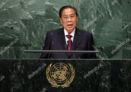 Choummaly Sayasone President of the Lao People's Democratic Republic Delivers His Address During the 70th Session General Debate of the United Nations General Assembly at United Nations Headquarters in New York Usa 30 September 2015 United States New York