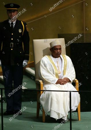 Ikililou Dhoinine President of the Union of the Comoros Waits to Deliver His Address During the 70th Session General Debate of the United Nations General Assembly at United Nations Headquarters in New York Usa 30 September 2015 United States New York