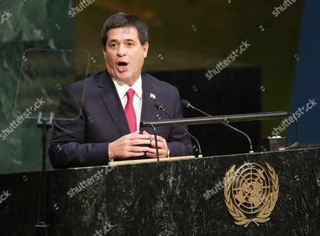 President Horacio Manuel Cartes Jara of Paraguay Delivers His Speech During the 70th Session of the United Nations General Assembly at United Nations Headquarters in New York New York Usa 28 September 2015 the General Debate Runs Through 03 October 2015 United States New York