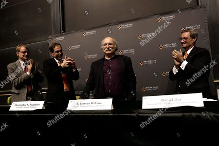 British Professor of Physics F Duncan Haldane (2ndr) is Applauded by His Colleagues at a Press Conference After Winning the Nobel Prize in Physics in Princeton New Jersey Usa 04 October 2016 the Royal Swedish Academy of Sciences in Stockholm Announced the Nobel Prize in Physics Winners British-born Scientists David Thouless Duncan Haldane and Michael Kosterlitz the Academy Cited Their 'Theoretical Discoveries of Topological Phase Transitions and Topological Phases of Matter ' United States New York