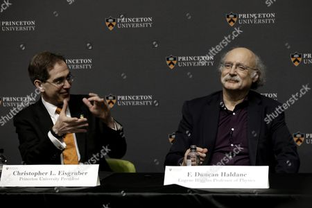 British Professor of Physics F Duncan Haldane (r) is Applauded Princeton University President Christopher L Eisgruber at a Press Conference After Winning the Nobel Prize in Physics in Princeton New Jersey Usa 04 October 2016 the Royal Swedish Academy of Sciences in Stockholm Announced the Nobel Prize in Physics Winners British-born Scientists David Thouless Duncan Haldane and Michael Kosterlitz the Academy Cited Their 'Theoretical Discoveries of Topological Phase Transitions and Topological Phases of Matter ' United States New York