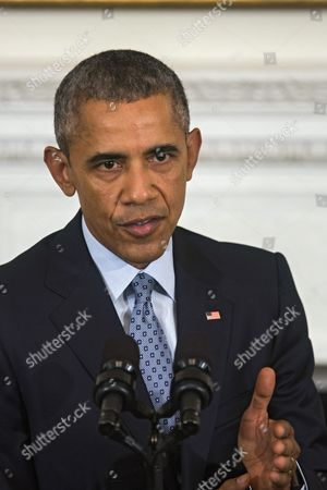 U S President Barack Obama Speaks at a Press Conference About Gun Violence in the State Dining Room of the White House in Washington Dc Usa 02 October 2015 Earlier Obama Announced That Arne Duncan is Stepping Down As Secretary of Education Duncan Has Served in the Post For Seven Years; Obama Has Asked Education Department Official John King Jr to Take Duncan's Place United States Washington