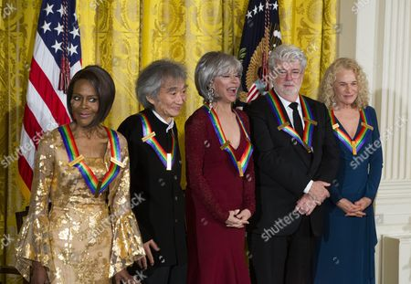 Actress and Broadway Star Cicely Tyson (l) Conductor Seiji Ozawa (c-l) Actress and Singer Rita Moreno (c) Filmmaker George Lucas (c-r) Singer-songwriter Carole King (r) Attend the Kennedy Center Honorees Reception in the East Room of the White House in Washington Dc Usa 06 December 2015 Us President Barack Obama and First Lady Michelle Obama Hosted the Gathering United States Washington