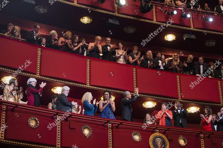 Stock Photo of Us President Barack Obama (c-r Bottom) and First Lady Michelle Obama (c-l Bottom) Attend the Kennedy Center Honors at the Kennedy Center in Washington Dc Usa 06 December 2015 the 2015 Honorees Are: Us Singer-songwriter Carole King Us Filmmaker George Lucas Puerto Rican Actress and Singer Rita Moreno Japanese Conductor Seiji Ozawa and Us Actress and Broadway Star Cicely Tyson United States Washington