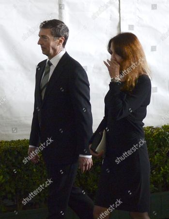 Stock Image of Ronald Reagan Jr (l) and Patti Davis (r) Leave to Pay Their Final Farewells to Their Mother Former Us First Lady Nancy Reagan at the Ronald Reagan Presidential Library in Simi Valley California Usa 11 March 2016 Nancy Reagan the Wife of Former Us President Ronald Reagan Died Age 94 at Her Home in Bel Air California on 06 March United States Simi Valley