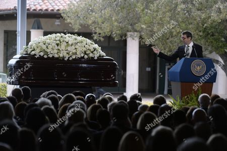 Ronald Reagan Jr the Son of Former Us First Lady Nancy Reagan Speaks During Funeral Services For Former Us First Lady Nancy Reagan at the Ronald Reagan Presidential Library in Simi Valley California Usa 11 March 2016 Nancy Reagan the Wife of Former Us President Ronald Reagan Died Age 94 at Her Home in Bel Air California on 06 March United States Simi Valley