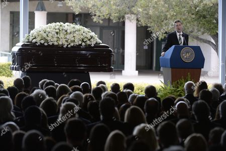 Stock Photo of Ronald Reagan Jr the Son of Former Us First Lady Nancy Reagan Speaks During Funeral Services at the Ronald Reagan Presidential Library in Simi Valley California Usa 11 March 2016 Nancy Reagan the Wife of Former Us President Ronald Reagan Died Age 94 at Her Home in Bel Air California on 06 March United States Simi Valley