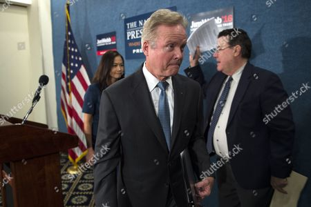 Us Democratic Presidential Candidate Former Senator From Virginia Jim Webb with His Wife Hong Le Webb Walks From the Podium After Announcing He Will No Longer Be Participating in Or Seeking the Democratic Nomination During a Press Conference in Washington Dc Usa 20 October 2015 Webb Did not Rule out a Run For President As an Independent Candidate and Said That He Will Be Talking to People From Across the Political Spectrum in the Next Few Weeks As He Makes His Decision United States Washington