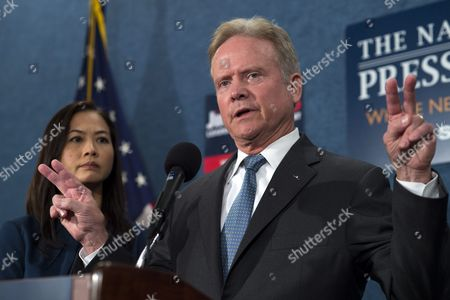 Stock Picture of Us Democratic Presidential Candidate Former Senator From Virginia Jim Webb with His Wife Hong Le Webb Announces He Will No Longer Be Participating in Or Seeking the Democratic Nomination During a Press Conference in Washington Dc Usa 20 October 2015 Webb Did not Rule out a Run For President As an Independent Candidate and Said That He Will Be Talking to People From Across the Political Spectrum in the Next Few Weeks As He Makes His Decision United States Washington