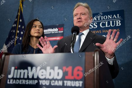 Stock Image of Us Democratic Presidential Candidate Former Senator From Virginia Jim Webb with His Wife Hong Le Webb Announces He Will No Longer Be Participating in Or Seeking the Democratic Nomination During a Press Conference in Washington Dc Usa 20 October 2015 Webb Did not Rule out a Run For President As an Independent Candidate and Said That He Will Be Talking to People From Across the Political Spectrum in the Next Few Weeks As He Makes His Decision United States Washington