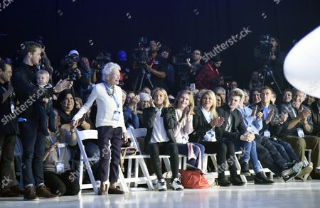 Eve Branson (l) Mother of Virgin Group Founder Sir Richard Branson Receives Applause From Branson Family Members and Guests During the Unveiling Ceremony of Virgin Galactic Spaceshiptwo in Mojave California Usa 19 February 2016 United States Mojave