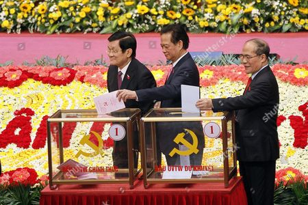 (l-r) Vietnam's President Truong Tan Sang Prime Minister Nguyen Tan Dung and National Assembly Chairman Nguyen Sinh Hung Cast Thier Votes in a Ballot Box During the 12th National Congress of Vietnam's Communist Party (vcp) in Hanoi Vietnam 26 January 2016 the Vcp's 12th Congress Which Runs From 20 to 28 January 2016 Will Choose the Party's New Leadership Viet Nam Hanoi